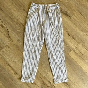 Linen pants with blue pin stripe and front tie